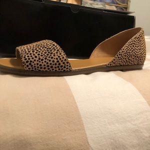 Brand new - Jcrew Calf hair peep-toe flats